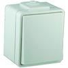 Выключатель 1Р, одноклавишный, откр. уст. IP44, 1П, 10 А/250 В АС, с самозажим. клеммами, бел. RAL9010