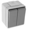 Выключатель 1Р, двухклавишный, откр. уст. IP55, 2НО, 10 А/250 В АС, с самозажимными клеммами, серый