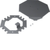 Напольный распределитель для гибких и алюминиевых коробов Hager, основание, крышка, крепёж, сталь окрашенная, RAL7011 железно-серый