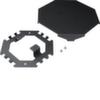 Напольный распределитель для гибких и алюминиевых коробов Hager, основание, крышка, крепёж, сталь окрашенная, RAL9005 чёрный