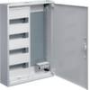 Щит Hager наружной установки, 1 секция для модульных устройств 48 мод., 1 секция с перфорированной монтажной панелью + розетка 4 гнезда. Сделано в Германии