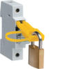 Комплект для блокировки замком откидной части держителя предохранителя