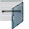 Щит vega Hager навесной раcпределительный 1 ряд, 18М, до 90А 400В АС, с клеммами N/PE, дверь прозрачная матовая, RAL9010