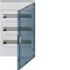 Щит vega Hager навесной раcпределительный 3 ряда, 54М, до 125А 400В АС, с клеммами N/PE, дверь прозрачная матовая, RAL9010